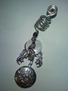 howling wolf moon dread braid charm with locket.xx