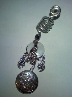 howling wolf moon dread braid charm with locket.xx