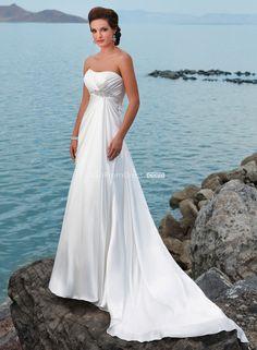 sleeveless column Satin Empire long lace-up back Wedding Dress - Gopromdres.com