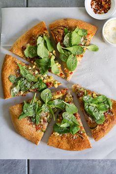 Pretty. Easy. Charred Poblano, Corn, and Pancetta Pizza