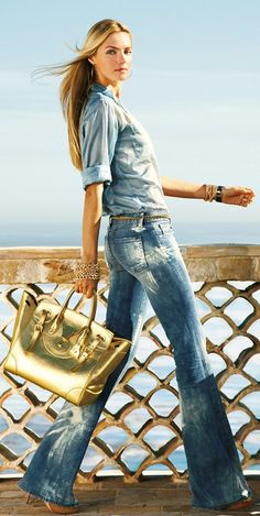 Denim Styles Michael Kors denim with gold ♥✤ | Keep the Glamour | BeStayBeautiful