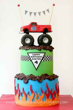 Monster Truck Cake. How to's truck & tires + template flame border here: http://jessicakesblog.blogspot.com/search?updated-max=2011-06-28T09%3A32%3A00-07%3A00&max-results;=7