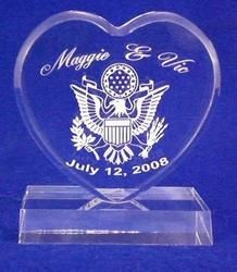Military Army Navy Air Force Marine Wedding Personalized Engraved Cake Topper