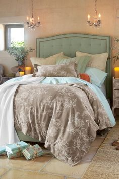 bedroom colors: gray, turquoise and coral LOVE You can do this too. Shop Estate sales for lighting; St. Vincent de Paul stores for vintage fabric, end tables etc. And make a Home Good, TJ Maxx or Marshal's run. Bon nuit.   The Tres Chic