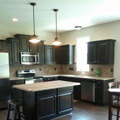 kitchens, back splashes, instagram, dark cabinets and dark floors, cabinet style, pendant lights, kitchen remodel, dark cabinets light tile, granite