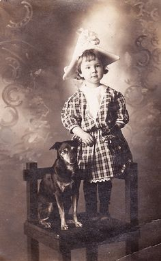 A Girl and Her Dog Antique Real Photo Postcard
