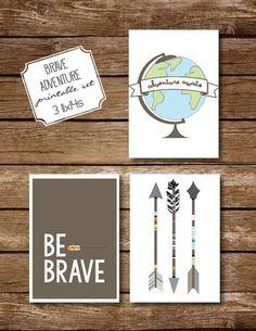Brave adventure! 3 Printable 11x14 INSTANT DOWNLOAD set of 3 art prints, modern boy nursery - arrows - be brave - adventure awaits