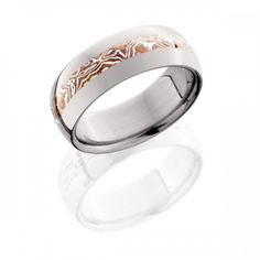 8mm Titanium Ring with Copper and Sterling Silver Mokume Inlay