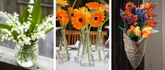 Simple florals for a backyard wedding