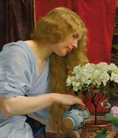 Artist: Vojtech Adalbert Hynais (1854–1925), Czech painter {untitled figurative blonde female watering flowers woman profile portrait cropped painting detail}