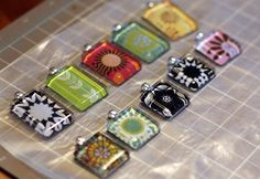 DIY glass tile necklaces...magnets...I want them all.