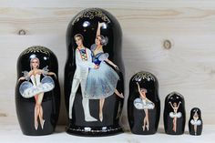 Ballet Swan Lake Nesting Dolls matryoshka doll set of 5
