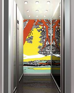 Inside of an elevator car decorated by Marimekko.  Inspired by today's Google graphic!