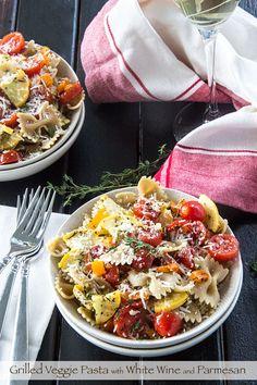 Grilled Veggie Pasta with Parmesan by thescrumptiouspumpkin: 30 minutes. #Pasta #Veggie #Quick
