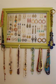 organizing ideas, jewelry storage, jewelry hanger, diy jewelry holder, earring holders, jewelry displays, picture frames, jewelry organization, diy earrings