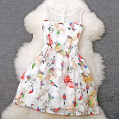 Embroidered Birds Party Dress