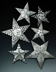 tutorial on how to make zentangle stars
