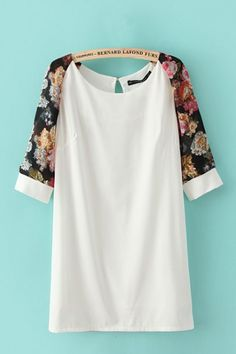 white shift dress, floral prints, print short, tunic dress, shift dresses, bridesmaid, short sleeved dress, floral sleev, blouse dress
