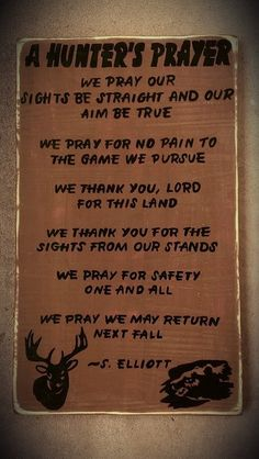 Hunters Prayer Hunting Deer Bear Cabin Rustic by 3CsGiftCreations, $34.99 I need to buy this for Nick! He would love it!