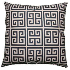 JinStyles Cotton Canvas Fret Accent Decorative Throw Pillow Cover (Navy Blue & Beige, Square, 1 Cover for 18 x 18 inserts)