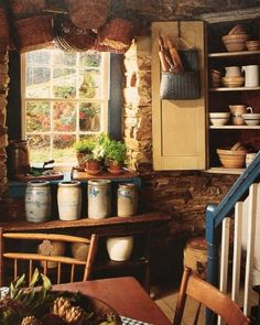 Old crocks in prim kitchen ...~♥~ country cottages, dream, cottage look, rustic kitchens, stone walls, tiny cottages, antique decor, country kitchens, old crocks