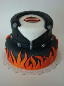 Harley Davidson leather jacket cake my dad is a total Harley Davidson fan!!!! His b-days on the 8th of January have to make this!!!!!