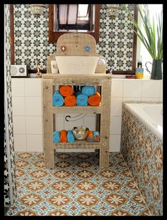 Cement tiles in a bathroom.