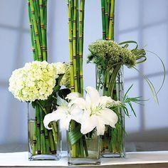 table decorations, squar, white flowers, pancak, green, purple flowers, glass, wedding centerpieces, mini