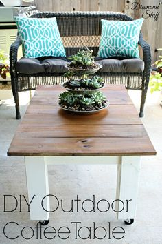 DIY Outdoor Coffee Table @ A Diamond in the Stuff