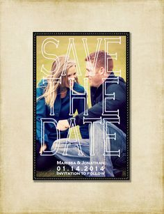 Save The Date Large Photo Modern Save The by AshleyMartinDesigns