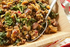Sausage and Quinoa One-pot supper- with cranberries, cider and spinach- amazing!