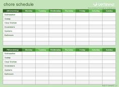 Use this template to customize and print a Kids' Chore Schedule.
