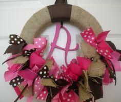 burlap wreath in ribbons for new baby hospital door hanger, front door...