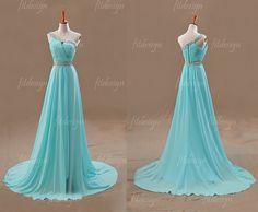 light blue prom dress long prom dress chiffon prom by fitdesign, $129.00