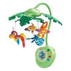 The Rainforest Peek-a-Boo Leaves Musical Mobile attaches to baby's crib for sleeptime and playtime.