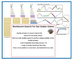 Making Montessori Ours Education Printables: Montessori Search for Ten Snake Game