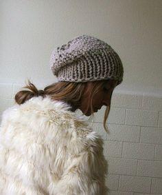 Fawn hat /  Fawn  / stone chunkier hand knit Autumn hat by ileaiye, $25.00