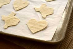 Valentine's Day tortilla chips. If you don't have a heart cookie cutter, use scissors! I did! #easy #valentine #recipes (Spray with Pam on both sides. Bake at 350 until crisp.