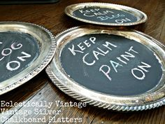 DIY Vintage Silver Chalkboard Platters - - perfect gifts, charger plates or for writing menus!  eclecticallyvintage.com