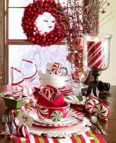holiday, idea, christmas tables, candi, christma tabl, christma decor, candy canes, christmas table settings, tabl set