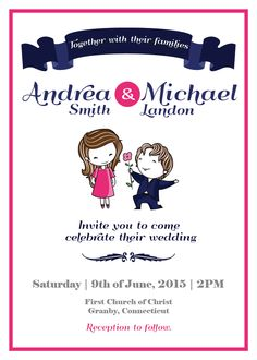 Free printable wedding invitation template with an adorable illustration of a couple.