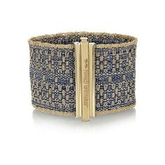 Carolina Bucci. 18k gold and blue silk thread woven cuff.