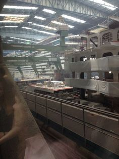 May 27 2014 tourist photo of Royal Caribbean International's Quantum of the Seas  Anthem of the Seas block in Hall 6 at Meyer Werft Papenburg, Germany.