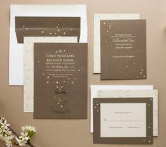 invite design, fireflies, masons, wedding ideas, camping theme, wedding invitations, mason jars, summer weddings, theme weddings