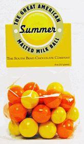 Summer Malt Balls 8oz.  Lemon and orange flavored chocolate combine to create America's best malted milk ball.