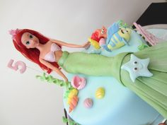 How to make an Ariel princess mermaid cake - the little mermaid cake. I show how I make my Ariel mermaid cake decorations for a fondant cake (well cake dummy...