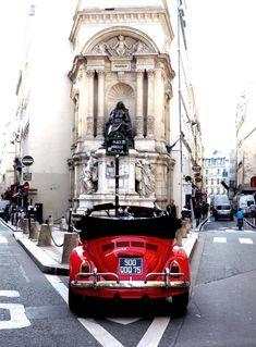 Paris & red VW convertible beetle   emsedge.elle.se