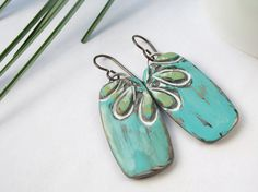 Polymer Clay Large Earrings featuring Seaside Turquoise and Lime Green Petal Design via Etsy