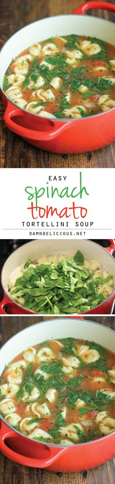 Spinach Tomato Tortellini Soup - The easiest, most comforting and hearty soup ever. All you need is 5 min prep. SO EASY!
