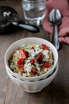 Quinoa with sun dried tomatoes and feta